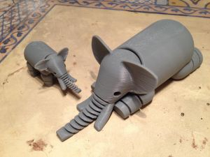 Elephants - printed in one piece. Small is original scale and larger elephant printed on the #Gigabot printer https://www.thingiverse.com/thing:257911/attribution_card